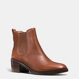 NEW COACH Clinton Bootie Ankle Boot Brown Leather